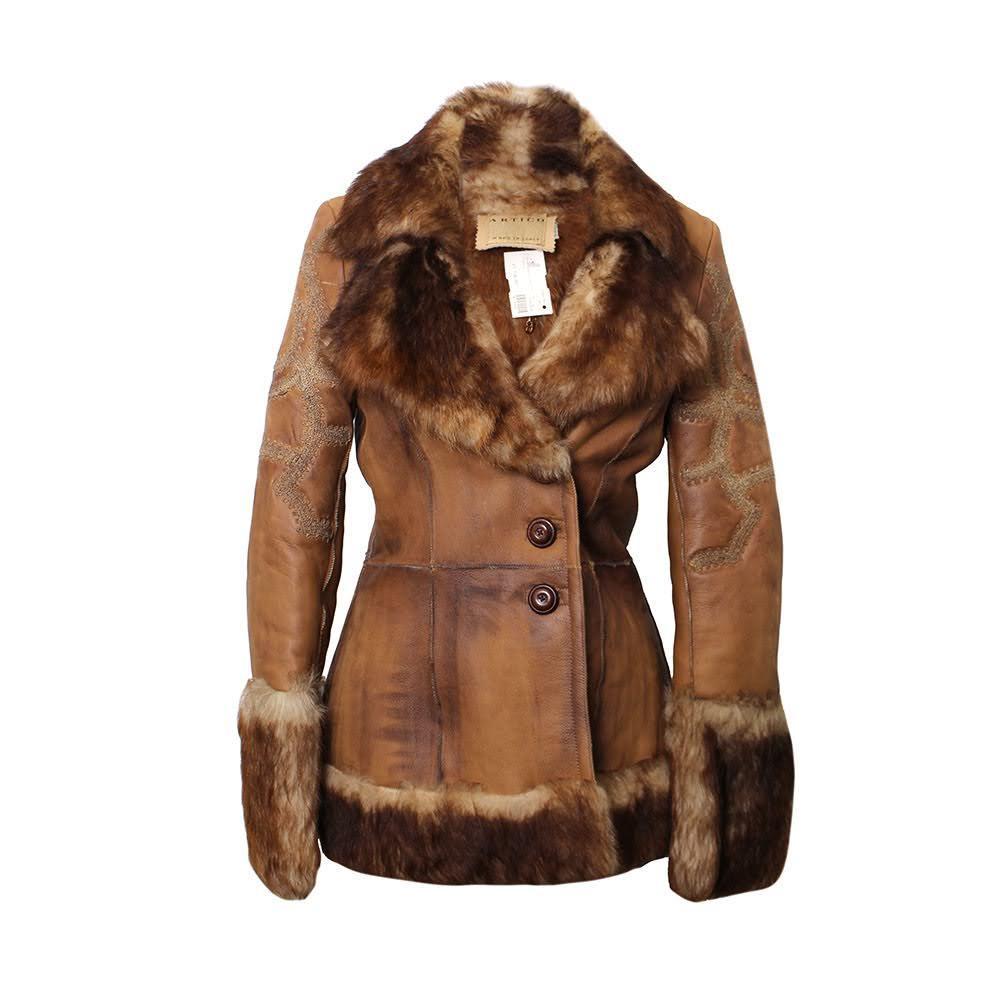 Artico Size 44 Brown Leather/Fur Jacket