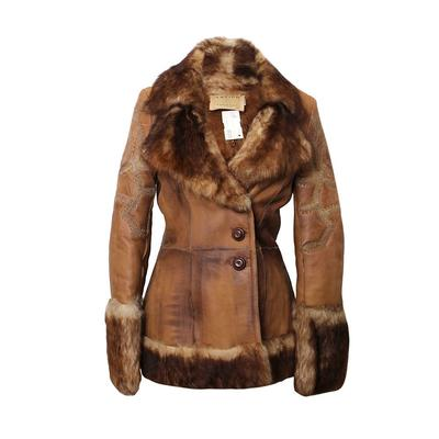 Artico Size 44 Brown Leather / Fur Jacket