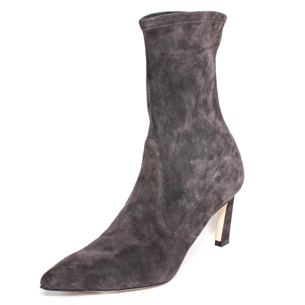 Stuart Weitzman Size 7 Grey Pointed Toe Boots