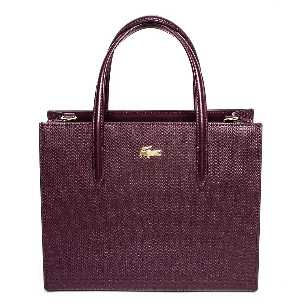 Lacoste Purple Split Cow Leather Handbag
