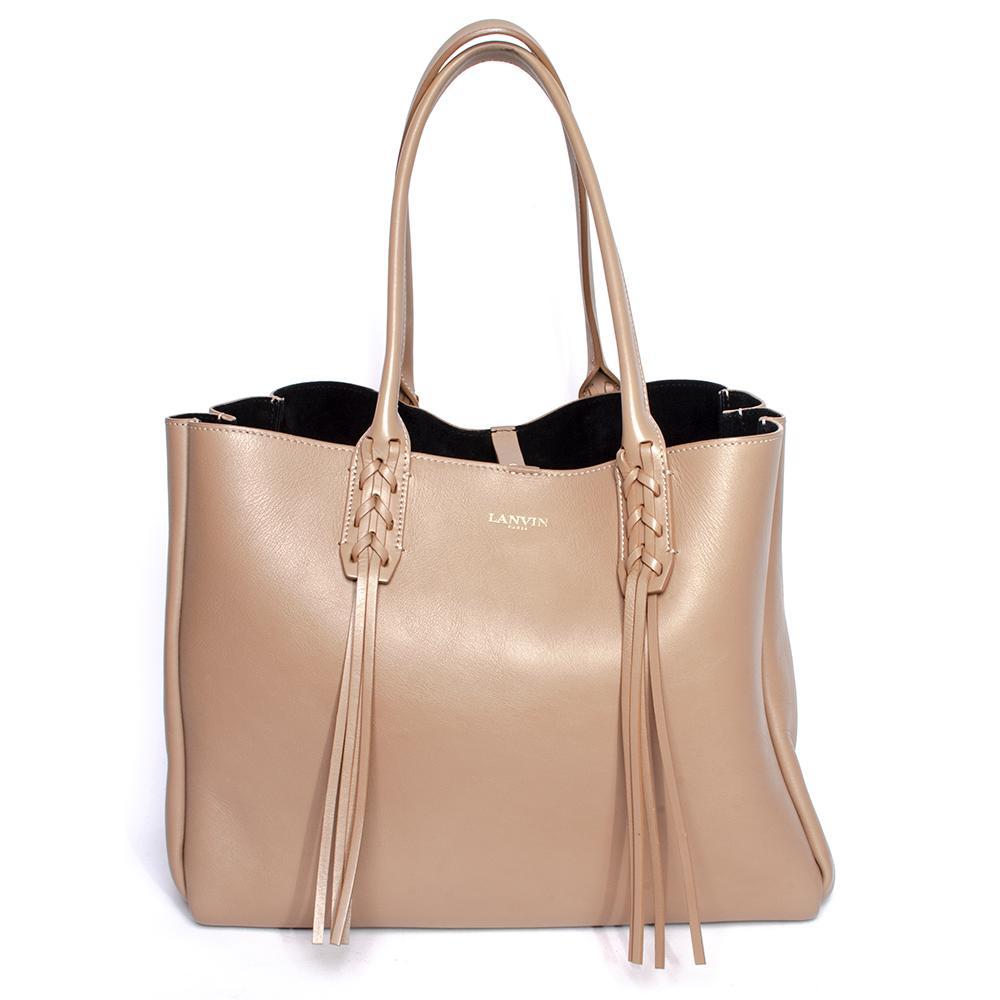 Lanvin Tan Leather Fringe Tassel Shopper Bag