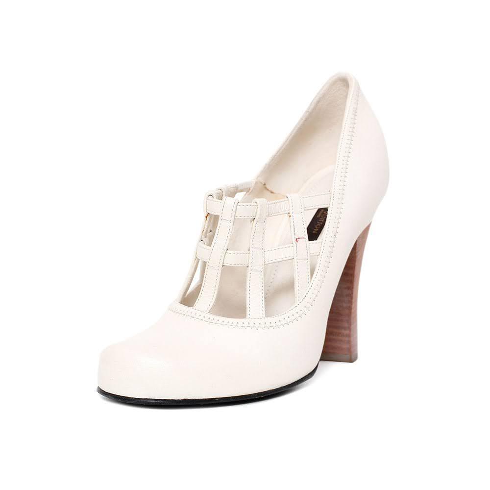 Louis Vuitton Size 38.5 White Cage Heels