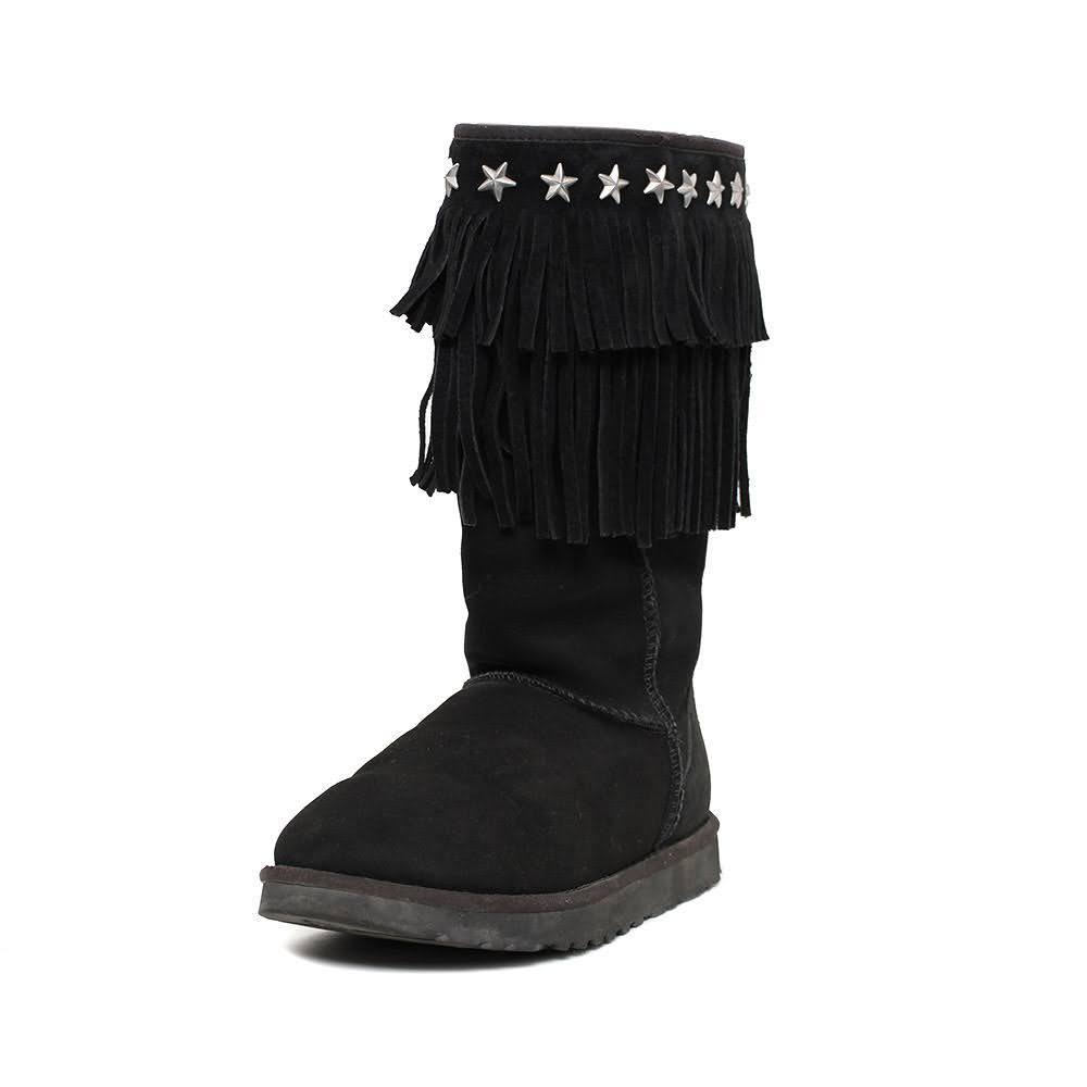 Ugg X Jimmy Choo Size 7 Black Fringe Boots