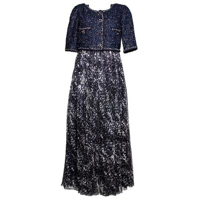Chanel Size 42 Navy 2012 Tweed Maxi Dress