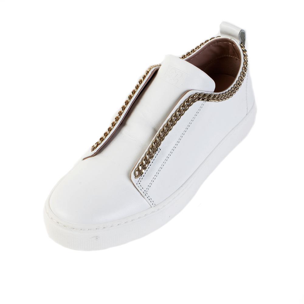 Escada Size 37 White Chain Detail Sneakers