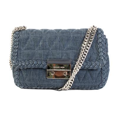 Michael Kors Navy Blue Quilted Chain Strap Handbag