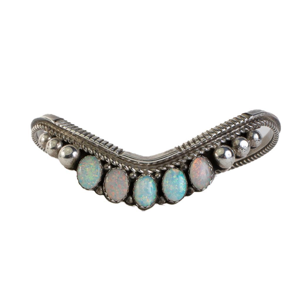 Patricia Yazzie Sterling Silver Opal Bracelet