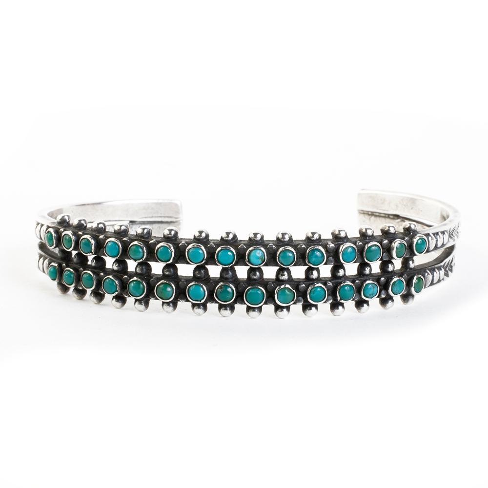 No Designer/Sterling Silver Zuni Turquoise Petite Bracelet