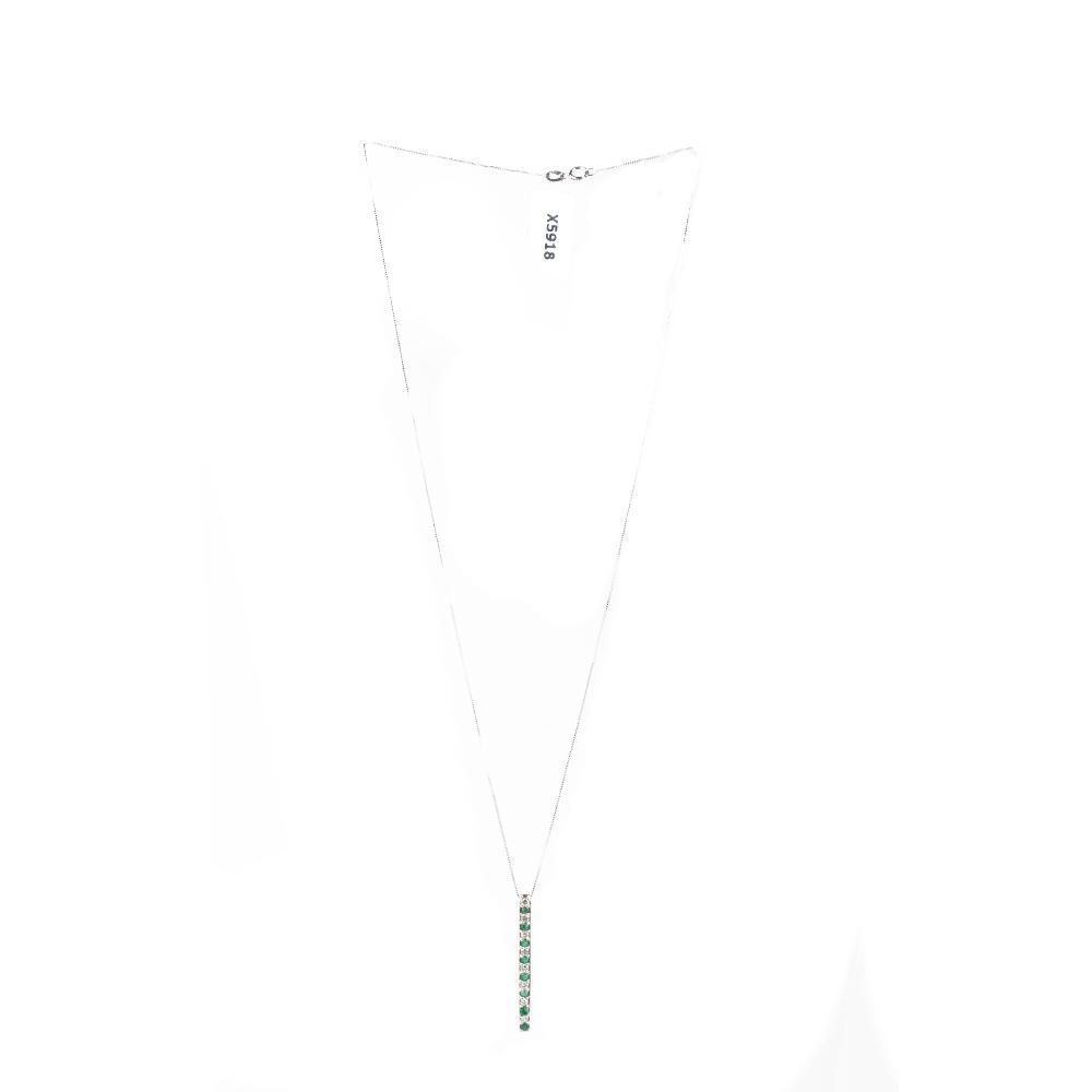 Diamond Emerald 14k Wg Necklace