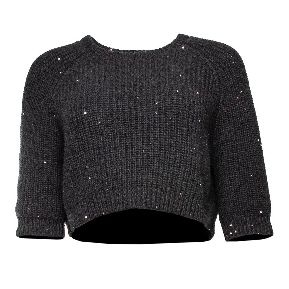 Brunello Cucinelli Size Medium Grey Cropped Sweater