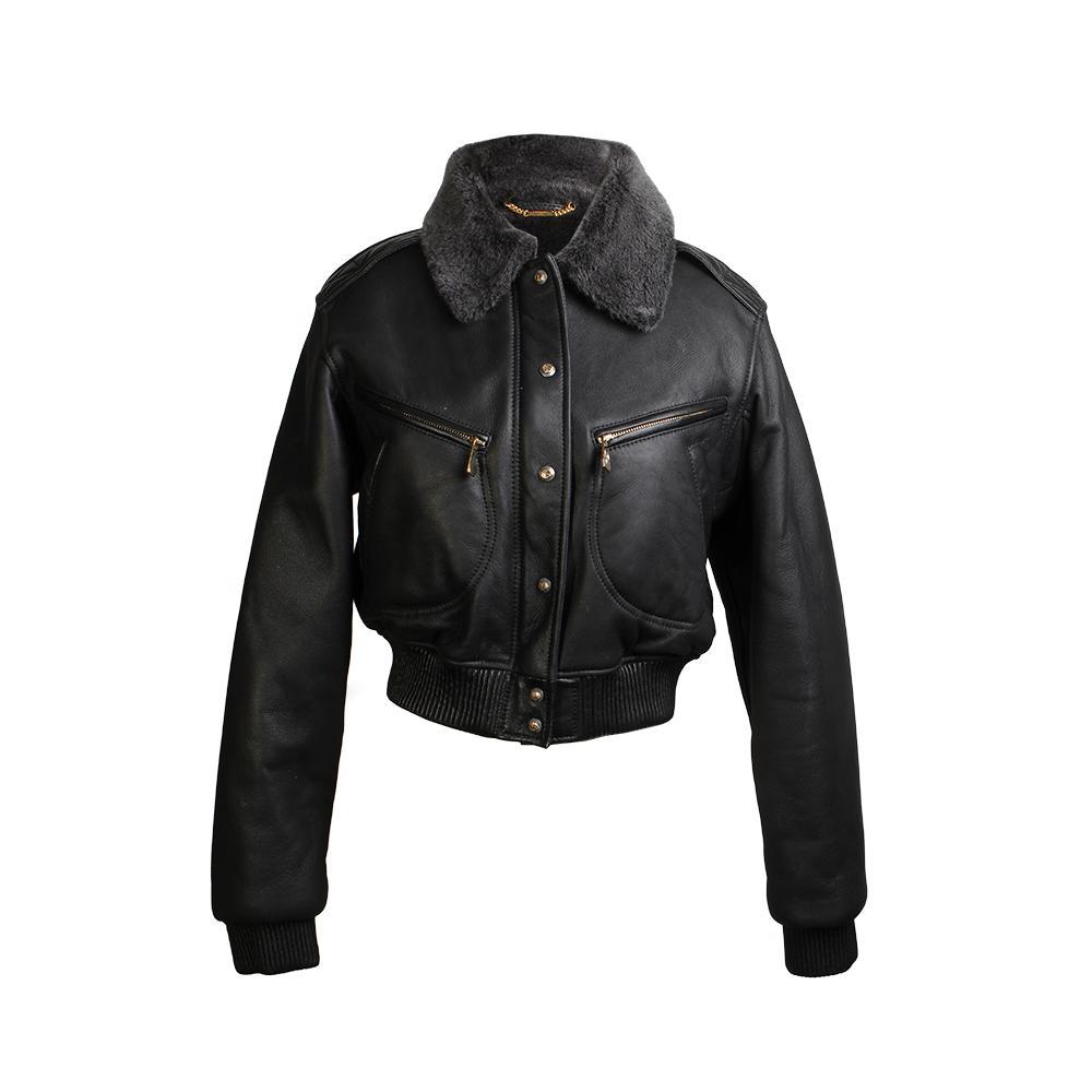 Versace Size 42 Collection Fur Trim Leather Jacket