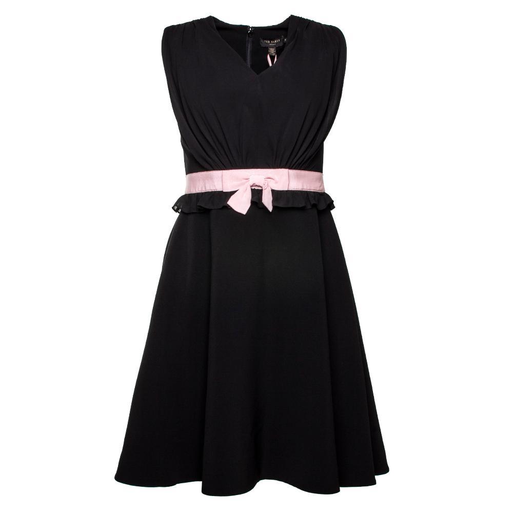 Ted Baker Size Small Black V Neck Bow Dress