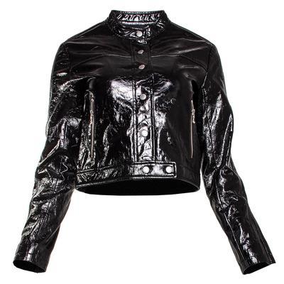 Rag & Bone Size 4 Black Toni Crinkle Patent Leather Jacket