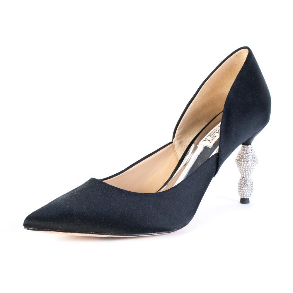 Badgley Mischka Size 6.5 Satin Black Rhinestone Heel