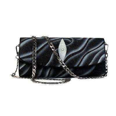 Stingray Chain Strap Textured Mid Handbag