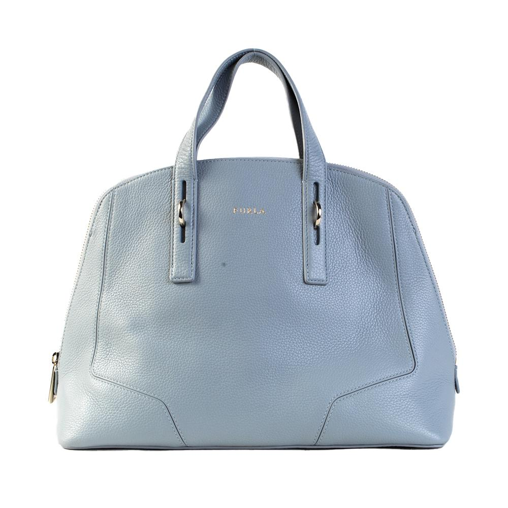 Furla Blue Leather Dual Strap Handbag