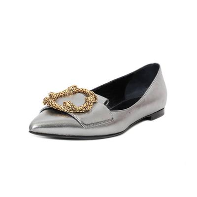 Roberto Cavalli Size 37 Silver Flats