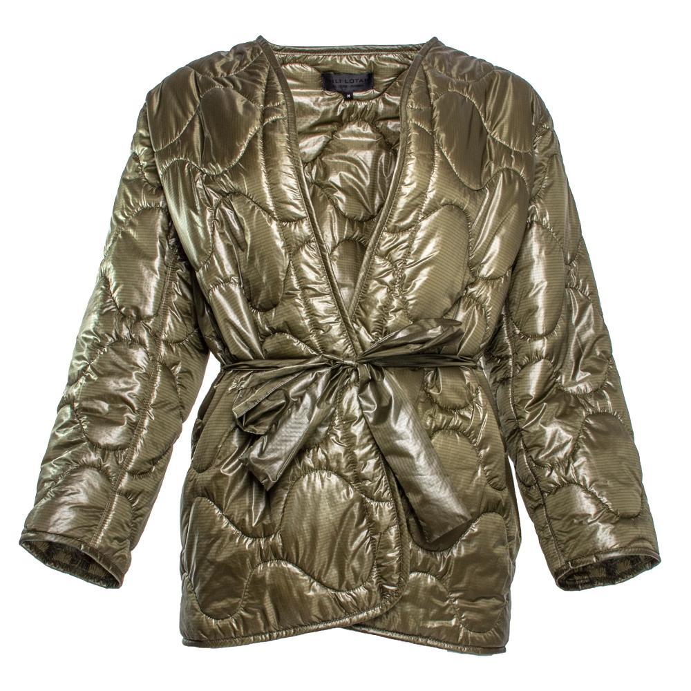 Nili Lotan Size Medium Green Nylon Jacket