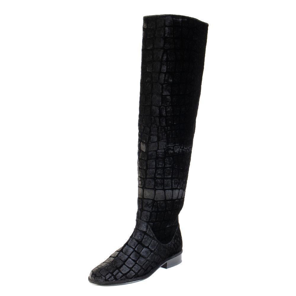 Stuart Weitzman Size 6 Velvet Croc Print Knee High Boot