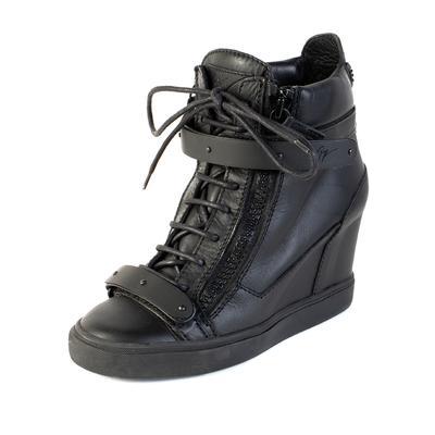 Giuseppe Zanotti Size 39 Black Buckle Zip Wedge Style Sneaker
