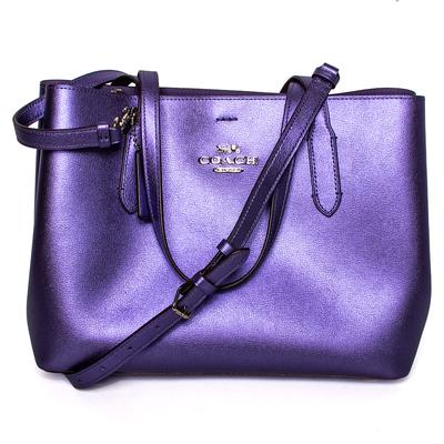 Coach Metallic Purple Leather Handbag