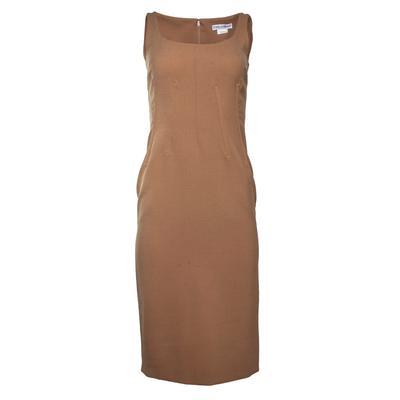 Dolce & Gabbana Size 42 Tan Virgin Wool Sleeveless Short Dress