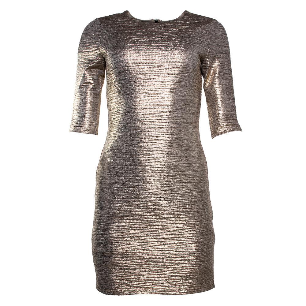 Alice + Olivia Size 6 Metallic Gold Dress
