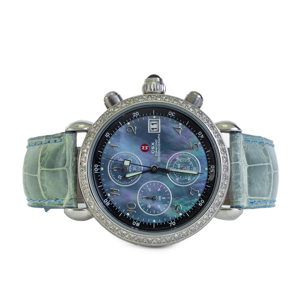 Michele Csx Blue Leather Diamond Watch