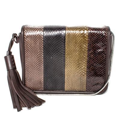 All Saints Brown Snakeskin Crossbody Bag