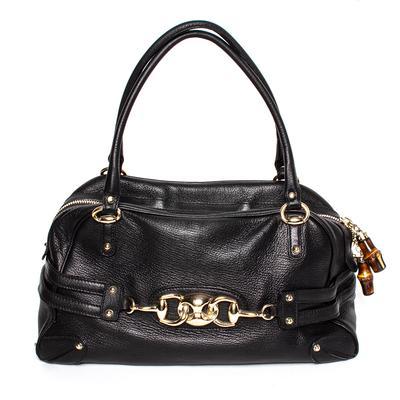 Gucci Vintage Black Leather Horsebit Handbag