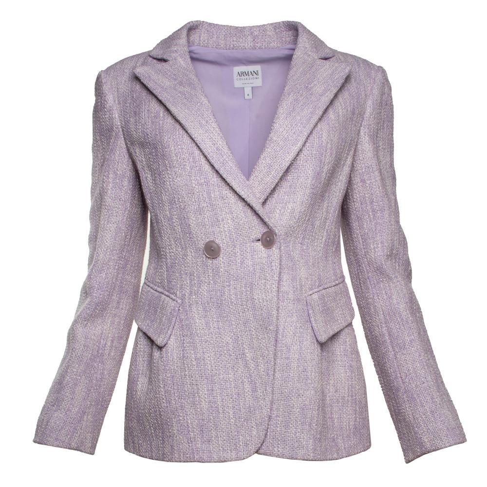 Armani Collezioni Size 6 Purple Knit Double- Breasted Jacket
