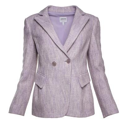 Armani Collezioni Size 6 Purple Knit Double-Breasted Jacket
