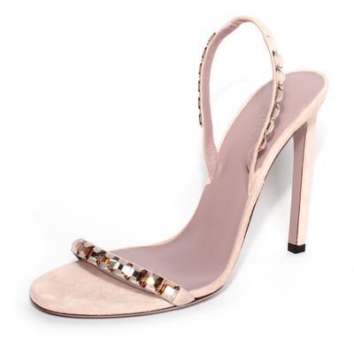 Gucci Size 38.5 Nude Suede Sparkle Slingback Heels