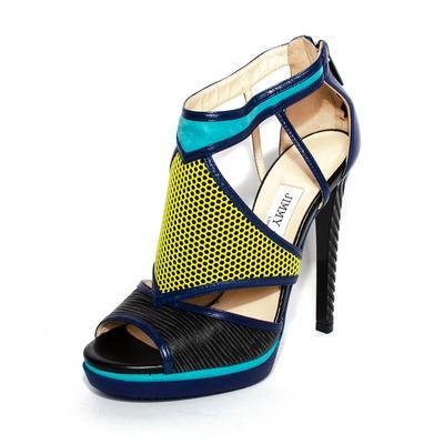 Jimmy Choo Size 35.5 Blue Lythe Embossed Leather Heels