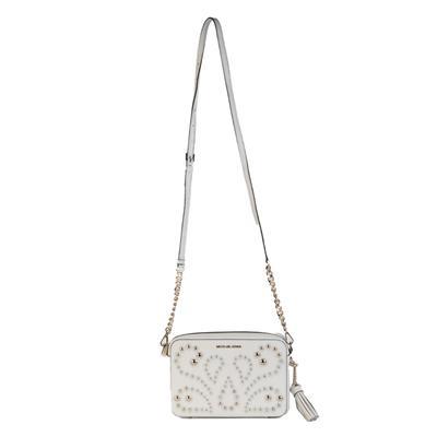 Michael M. Kors White Ginny Stud Leather Camera Bag