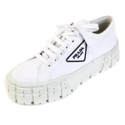 Prada Size 39.5 White Nylon Logo Platform Sneaker