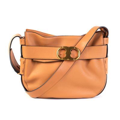 Tory Burch Brown Leather Gemini Link Cross Body Bag