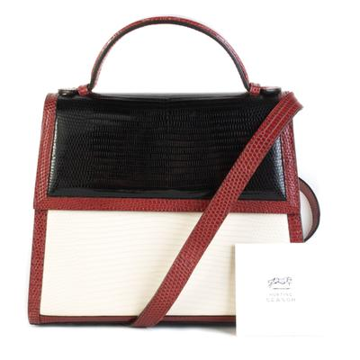 Hunting Season Red, Black, and White Lizard Top Handle Bag