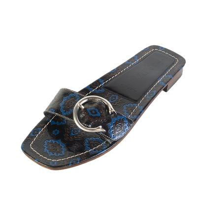 Prada Size 38.5 Blue Buckle Slides