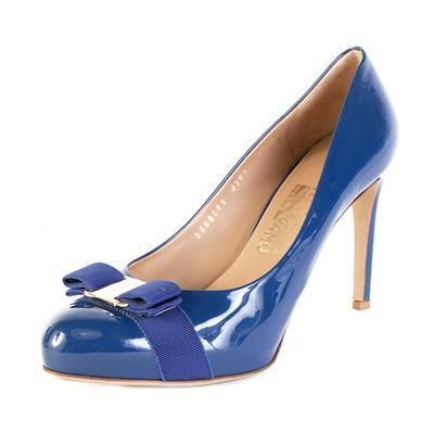 Salvatore Ferragamo Size 9.5 Blue Bow Heels