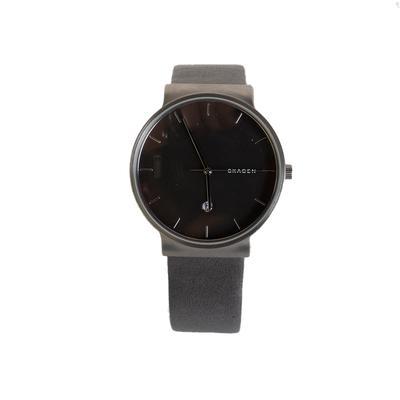 Skagen Fall Grey Leather Strap Watch