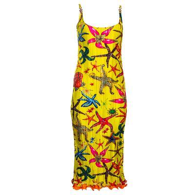 Versace Size 42 Yellow Tresor De La mer Print Plisse Maxi Dress