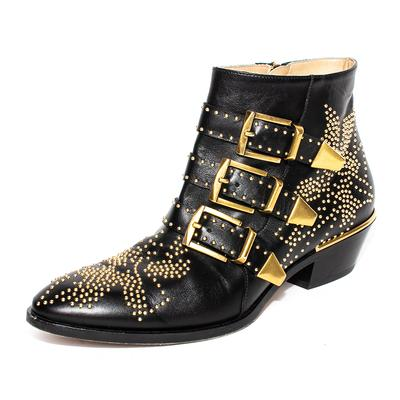Chloe Size 36.5 Black Gold Studded Susanna Boots