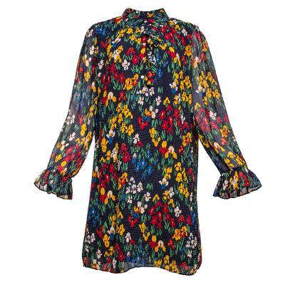 Tory Burch Size Medium Navy Polka Dot Floral Dress