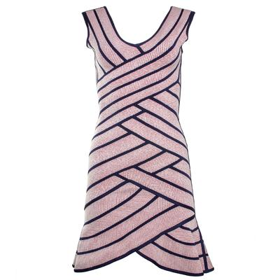 Herve Leger Size Small Pink & Navy Striped Dress