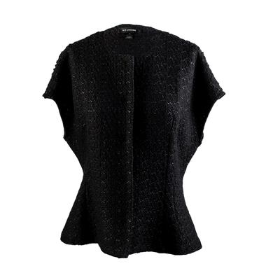St. John Size 12 Black Fall Sleeveless Jacket