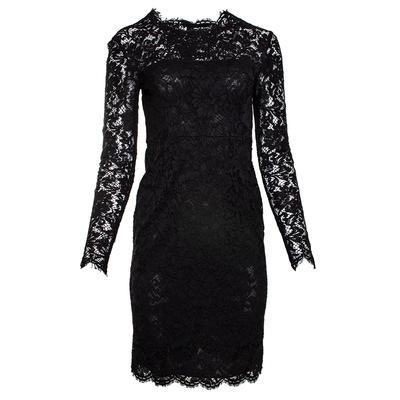 Valentino Size 4 Black Lace Long Sleeve Dress