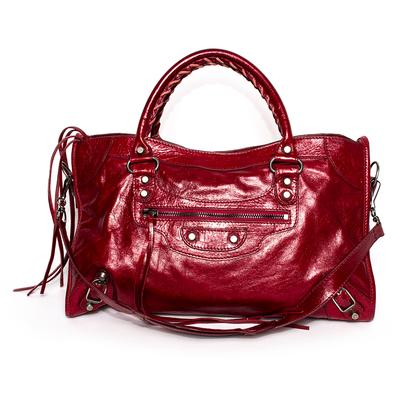 Balenciaga Red Leather City Bag