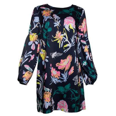 Tibi Size 8 Navy Floral Long Sleeve Dress