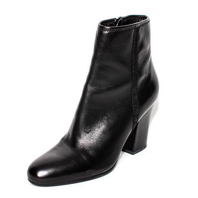 Prada Size 37.5 Black Leather Side Zip Booties